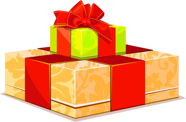 two colorful gift box on white background