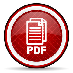 pdf red glossy icon on white background