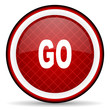 go red glossy icon on white background