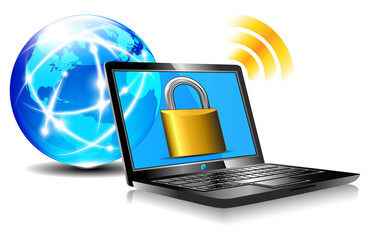 Padlock on laptop screen Laptop internet surfing protection