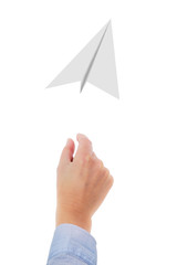 Hand throwing paper airplanes in the air