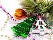 New year background with colorful decorative furtree