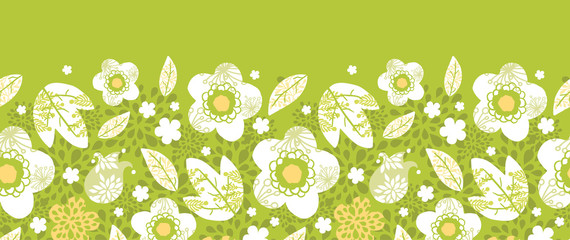 Vector green kimono florals horizontal seamless pattern