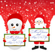 Santa Claus and snowman in a forest with congratulatory banners