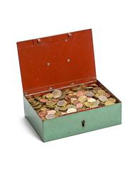 geöffnete Geldkassette