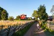 Kleiner Junge radelt auf Feldweg in Schweden - 47292292