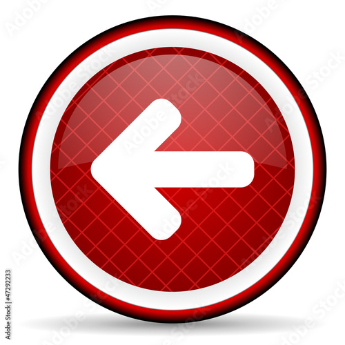 arrow left red glossy icon on white background