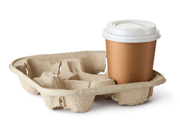 One take-out coffee in holder