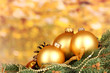 Christmas decoration on yellow background