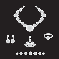 Jewelry set from pearls