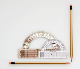 Pencils and protractor