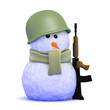 Snowman soldier with rifle