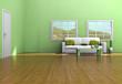Modern living room with teak floor