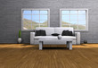 Modern living room with teak floor