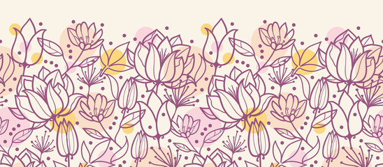 Vector purple line art flowers golden horizontal seamless