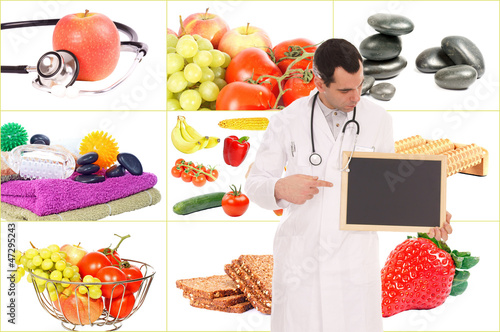 Doctor with empty sign and Collage - healthy living