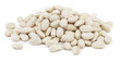 Heap of beans on white background from above