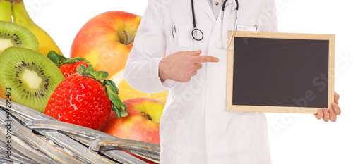 fresh fruit and doctor with empty sign