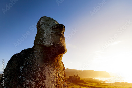 Moai with blue and orange background in Easter Island