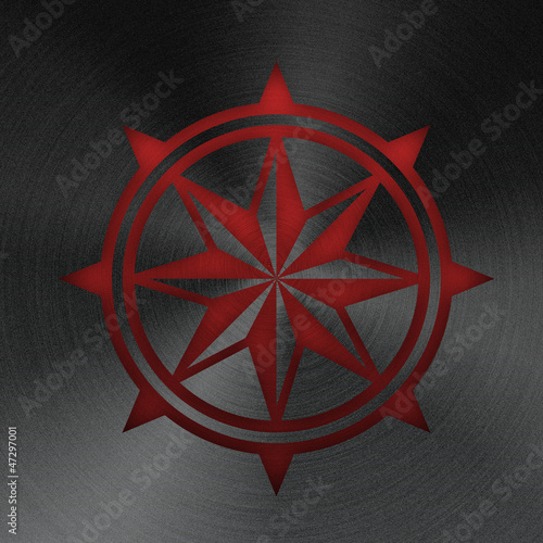 Compass rose, stamped into polished  metal