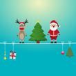 santa reindeer tree on twine blue background