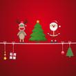 santa reindeer tree on twine red background