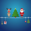 santa reindeer tree on twine blue background