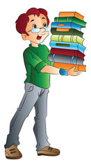 Man Carrying Books, illustration