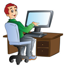 Man Using a Desktop Computer, illustration