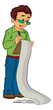 Man Holding a Clipboard, illustration