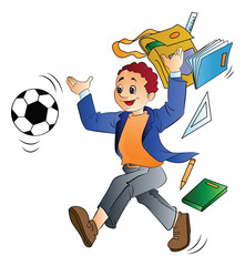 Man Throwing School Things, illustration