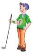 Man Playing Golf, illustration