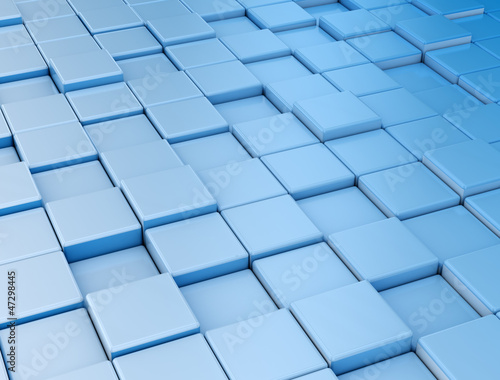 Blue reflective metal cubes