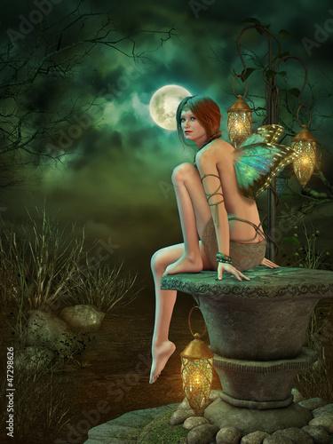 Deurstickers Retro Lanterns and Moonlight