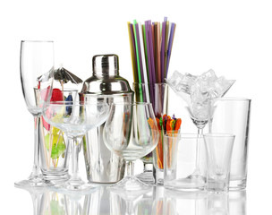 Cocktail shaker and glasses isolated on white