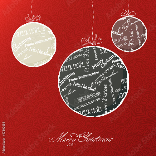 Christmas balls with multilingual greetings pattern. Vector illu