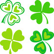 Isolated green ornamental Irish symbols - shamrocks
