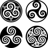 Set of black isolated celtic symbols - triskels