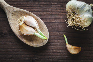 garlic on wooden spoon