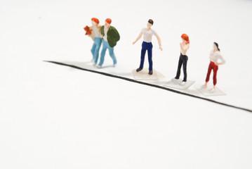スタートラインに並ぶ人々
