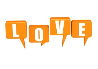 Love with speech bubble