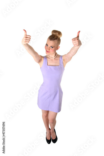 Female with okay gesture, isolated.