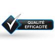 qualité efficacité sur bouton web carré design bleu