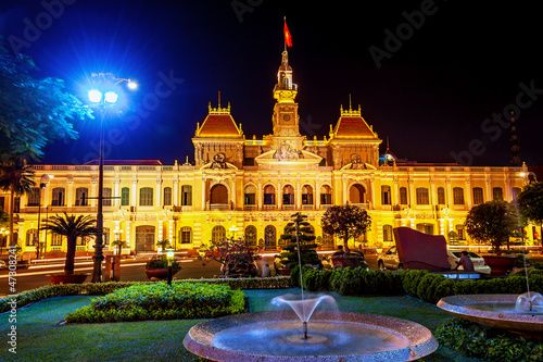 Ho Chi Minh City Hall at night scene in Ho Chi Minh, Vietnam.