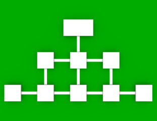3d Render of a Flow Chart on a Green Background