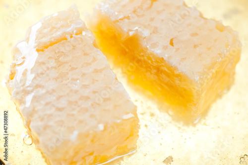 Horizontal shot of honeycomb pieces and honey, close-up