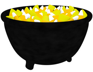 3d Render of a Cauldron Filled with Candy Corn