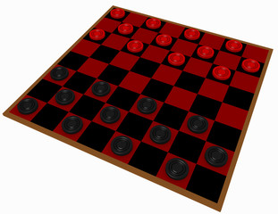 3d Render of a Checkers Game Isolated on White