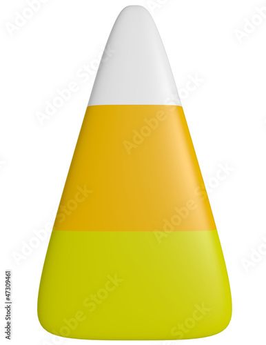 3d Render of a Piece of Candy Corn Isolated on White