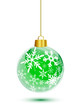 Green christmas ball with snowflakes pattern hanging